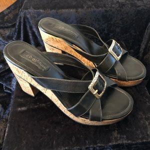 Brighton Shoes Black Italian Leather & Cork Heels